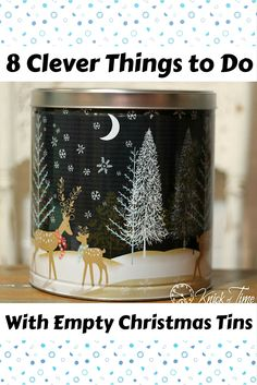 8 clever things to do with all of those empty Christmas tins. Tin Can Crafts, Easy Diy Crafts, Fun Crafts, Simple Christmas, All Things Christmas, Christmas Crafts, Recycled Tin Cans, Recycled Crafts, Christmas Popcorn Tins