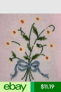 Embroidery & Cross Stitch Ep Daisy Flower Bouquet With Bow Vintage Preworked Needlepoint Canvas & Garden Painted Christmas Ornaments, Needlepoint Canvases, Cross Stitch Embroidery, Canvas Fabric, Hand Stitching, Fabric Crafts, Pink And Gold, Needlework, Daisy