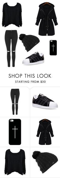 """Black 4"" by sammywilki ❤ liked on Polyvore featuring Topshop, adidas, Casetify, Alice + Olivia, Burton, women's clothing, women's fashion, women, female and woman"