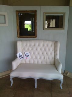 the photobooth wall with a white debuttoned chair Beautiful Day, Photo Booth, Love Seat, Couch, Engagement, Chair, Party, Wall, Wedding