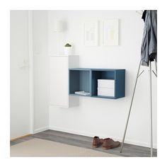 EKET Combinación armario pared - blanco/azul claro/azul oscuro - IKEA