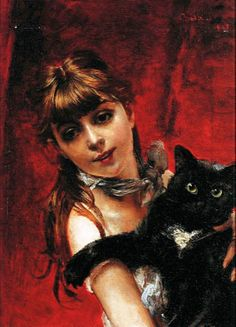 Girl with black cat, by Giovanni Boldini (Italian), 1885 -- See more at: http://www.the-athenaeum.org/art/list.php?m=a&s=du&aid=363