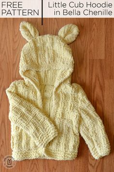 The knitted Little Cub Hoodie is sized 6 mos to 4 years. Calls for balls of Universal Yarn Bella Chenille. Knitting For Kids, Baby Knitting Patterns, Crochet For Kids, Baby Patterns, Free Knitting, Knitting Projects, Crochet Patterns, Loom Knitting, Knitting Ideas