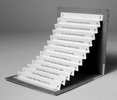 Emily Martin | United States My Twelve Steps 1997  Artists' Books/Livres d'artiste   Letterpress printed pop up book on rag paper with cord and rod pull closure.