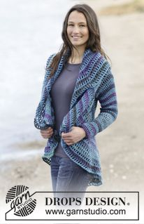 """Gypsy Blue - Crochet DROPS jacket worked in a circle in """"Big Delight"""" and """"Karisma"""". Size: S - XXXL. - Free pattern by DROPS Design"""