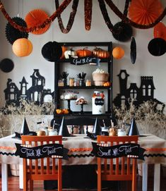 13 Crazy Party Themes for Great Halloween Party...I love this tablecloth with the BIG rick rack!