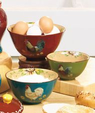 New Colorful Set of 3 Roosters & Sunflowers Kitchen Bowls Rustic Country Decor