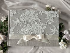 Wedding Guest Book Guestbook Lace Shabby Chic by forlovepolkadots