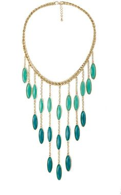 Gemstone Fringe Statement Necklace - Turquoise Teal: