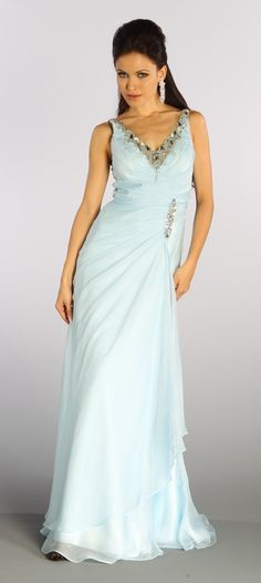 Baby Blue Formal Gown Full Length V Neckline Beaded Illusion Back 199 99