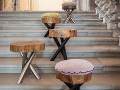 tabouret en bois design rond arbre sur pieds