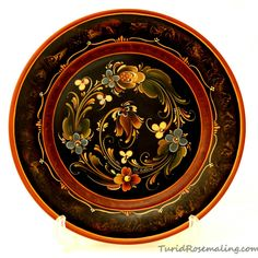 Plate painted in Rogalandstyle, by Turid Helle Fatland, Norway