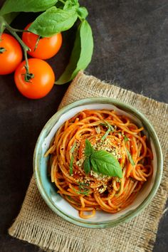 Whole wheat spaghettini with roasted tomato sauce, fresh basil, and vegan parmesan.