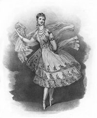 Marie Taglioni (Italian, 1804-1884). Taught and choreographed by her father, Marie became renowned for her amazing pointe work & best known for the ballet La Sylphide in 1832 in which she danced on pointe for the whole entire ballet. She created a new style on pointe such as floating leaps and balanced poses such as the arabesque - also made it acceptable to dance in knee-length costumes...