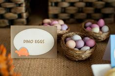 """Dinosaur Eggs"": candy snack in little nests at Dinosaur party...too cute!"