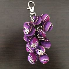 Purple Inka Fabric Keychain. BEAUTIFUL This keychains are handmade by poor single mothers in Perù .... I help them selling their art.  Made with Inka Fabric this Keychain is a beautiful piece of artisan handmade art....Handmade. Unique. Perfect gift Accessories Key & Card Holders