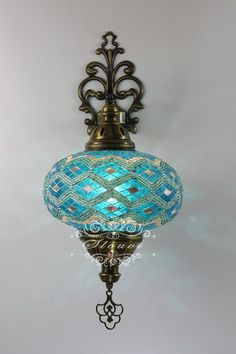 Turkish Mosaic Single Wall Sconce With Extra Large Globe Turkish Lamps, Moroccan Lamp, Moroccan Lanterns, Moroccan Lighting, Carpenter Bee Trap, Flur Design, Wall Lights, Ceiling Lights, Bohemian Decor