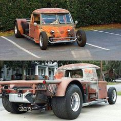 """""""Type 2 cab, small block, and a whole bunch of custom equal Vw Rat Rod, Rat Rod Cars, Vw Cars, Custom Trucks, Custom Cars, Cool Trucks, Cool Cars, Kombi Pick Up, Weird Cars"""
