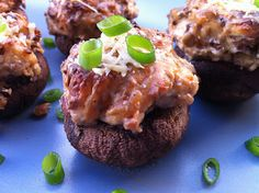 Bacon, Blue Cheese, Caramelized Onion Stuffed Mushrooms | Peace, Love, and Low Carb  These sound divine!  Can't wait to try them.