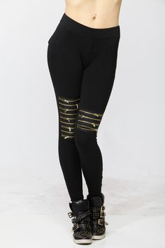 Gold Zipper Leggings