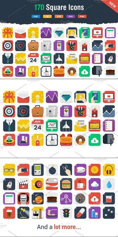 We are back with another great (and modern) set of 170 Flat Icons. Flat Icons, Icon Collection, Business Icon, Icon Pack, Icon Set, Icon Design, Fonts, Clip Art, Collections