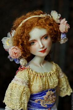 Купить Cleo. Подвижная кукла из фарфора - васильковый, кукла из фарфора, подвижная кукла, коллекционная кукла