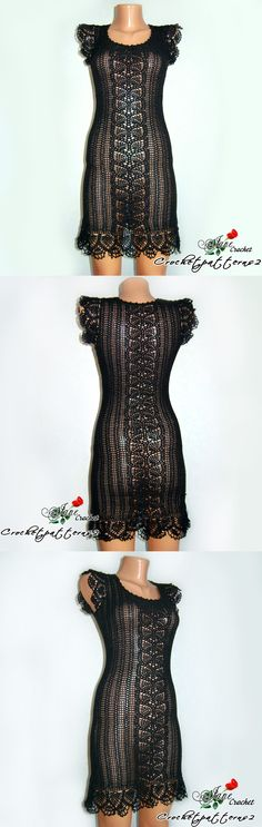 Preto Crochet Dress - artesanal crochê vestido de verão