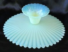 """Stunning Vintage Murano Opalescent Glass Pedestal Cake Plate, Etch Signed 12.5"""""""