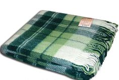 Plaid wool 100% Blanket New Zeland Scottish Elf Green white small tartan  #Vladi