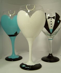 over 400 pins on this craft board; lots of painted wine glasses...........Hand Painted Wine Glass Wedding Party, so cute!!!