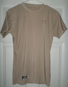 Men's Sand Khaki UNDER ARMOUR TACTICAL Short Sleeve Athletic Shirt, Size LG, GUC #UNDERARMOURTACTICAL #PullOverAthleticTacticalShirt