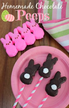 Easter Chocolate Peeps ...the marshmallow tail is too cute!