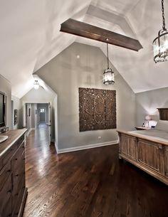Oakley Home Builders traditional bedroom - wall color Living Room Colors, My Living Room, Bedroom Colors, Living Area, Style At Home, Dark Wood Floors, Hardwood Floor, Wood Paneling, Exposed Beams