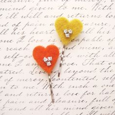 Heart Bobby Pins, Valentine's Day Hair Pins, Sparkly Hair Accessories, Yellow, Orange, Rhinestones on Etsy, $13.34 AUD Party Hairstyles, Orange, Yellow, Aud, Hair Pins, Rhinestones, Bobby Pins, Valentines Day, Hair Accessories