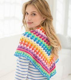How To Make A Crochet V-Shaped Striped Shawl | Crochet Fashion | FREE Crochet Patterns | DIY Fashion | Shawl Pattern