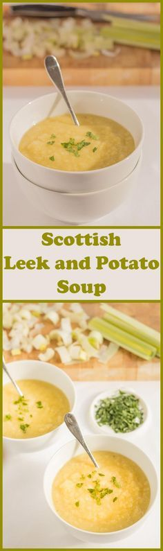 A simple healthier Scottish leek and potato soup. Still as deliciously creamy and smooth tasting as the original but as it's not made with butter or cream, it's so much more healthier! Completely suitable for lactose intolerant and vegetarians too! Scottish Dishes, Scottish Recipes, Irish Recipes, Soup Recipes, Cooking Recipes, Healthy Recipes, Recipies, Healthy Meals, Healthy Food