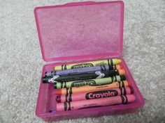 Travel soap box containers are great for crayons and flashcards.