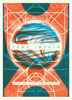 Tame Impala concert poster by Status Serigraph Omg Posters, Band Posters, Music Posters, Event Posters, Tame Impala, Design Typography, Graphic Design Posters, Vintage Poster, Illustration