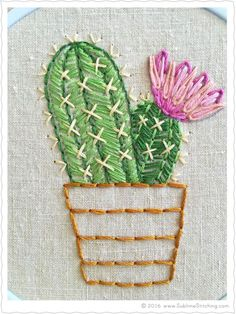 New FREE hand embroidery pattern of bloomin' cactus from Sublime Stitching!