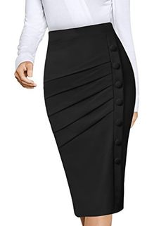 VFSHOW Womens Pleated Buttons High Waist Wear to Work Office Pencil Skirt Material: pleated front part has lining only Pencil Skirt Casual, Pencil Skirt Outfits, Pencil Skirts, African Fashion Dresses, Fashion Outfits, Office Outfits Women, Skirt Patterns Sewing, Classic Skirts, Classy Dress