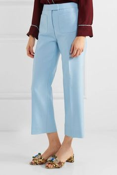 J.Crew - Gretch Cropped Wool And Silk-blend Twill Straight-leg Pants - Sky blue - US10
