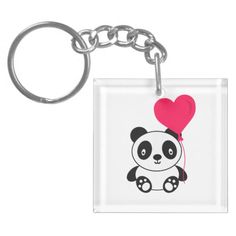 Valentine Panda Acrylic Keychain