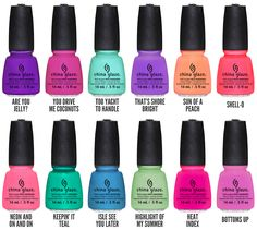 China Glaze Sunsational Collection: I want the shades Too Yacht To Handle, That's Shore Bright, Neon On and On, Son of a Peach, Highlight of my Summer, Heat Index, and Bottoms Up