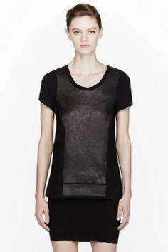 RAG & BONE Black leather-paneled Tess Tee