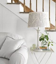 DIY Home Decorating in North Carolina - DIY Renovating Ideas - Country Living Saw this in the latest issue. Great for white lamp base I found! Diy Apartment Decor, Diy Home Decor, Diy Casa, North Carolina Homes, Do It Yourself Home, Lamp Shades, Decorating On A Budget, New Furniture, Home Projects
