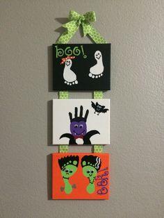 Halloween handprints and footprints, three kid art, canvas, ghost, vampire, Frankenstein
