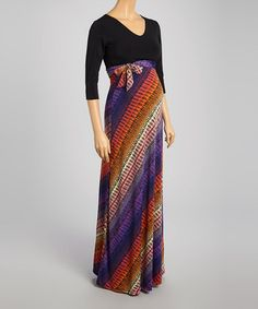 Flattering lines and style Black & Violet Abstract Maternity Maxi Dress. Great transitional dress into fall season!