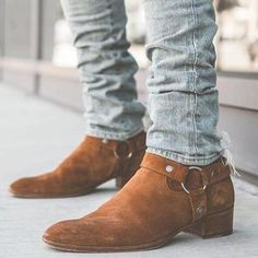 Buy 3 Color Autumn Winter Men Boots Fashion Suede Leather Round Toe Western Ankle Boots Casual Ankle Buckle Cowboy Ankle Booties Mens Casual Shoes at Wish - Shopping Made Fun Mens Suede Boots, Suede Ankle Boots, Ankle Booties, Suede Leather, Leather Boots, Men Boots, Soft Leather, Mens Boots With Jeans, Mens Boots Style