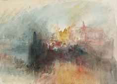 from the sketchbook of Joseph Mallord William (JMW) Turner (1775‑1851). The Burning of the Houses of Parliament, from the River  From Burning of the Houses of Parliament (1) Sketchbook, 1834,  Watercolour on paper. Click for more sketches of this work.