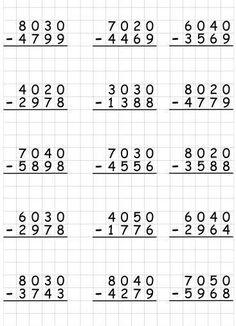 4th Grade Math Worksheets, Printable Math Worksheets, Math Drills, Math Subtraction, Fourth Grade Math, Math Words, Homeschool Math, Math For Kids, Teaching Math